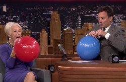 HELEN MIRREN, JIMMY FALLON + HELIUM VOICES