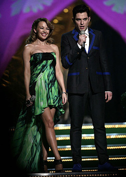 Kylie on stage with Matt
