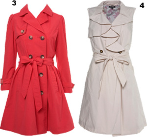 Coral Trench from Miss Selfridge & Sleeveless version from Topshop