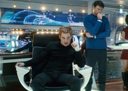 Pine as Captain Kirk in Star Trek