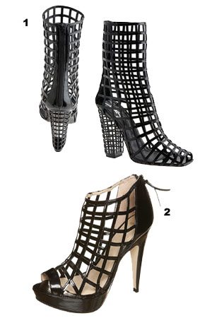 1. YSL Caged Boot £905 2. Topshop Version £70.00