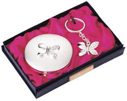 Jennifer Ulisse Modern Butterfly Mirror & Keyring Gift Set