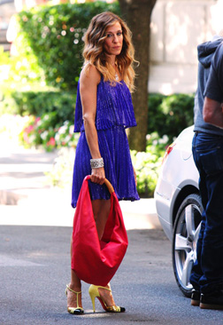 SJP in blue Halston Dress