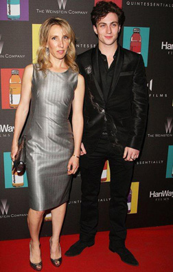 Sam with Aaron Johnson from Nowhere Boy