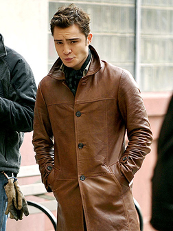 Ed Westwick on the set of Gossip Girl