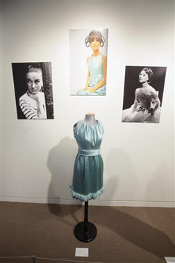 A dress worn by Audrey Hepburn is displayed at a press preview of the Tanja Star-Busman collection of Hepburn memorabilia at Sotheby's