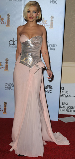 Christina Aguilera in Versace gown at the Golden Globe Awards