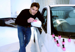 Watch David paint his Fiat 500 pink