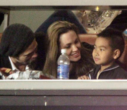 Brad, Angelina & Maddox at the Superbowl