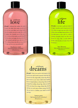 Philosophy's new Celebrate Shower Gel Trio
