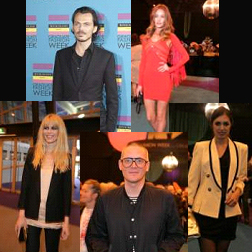 Clockwise from top left: Matthew Williamson, Rosie Huntingdon-Whitely, Amber Le Bon, Giles Deacon and Claudia Schiffer