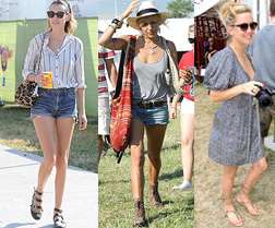 Alexa Chung, Sienna Miller and Kate Hudson at Glastonbury 2010