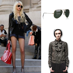 Jenny - Classic Aviator Sunglasses by Ray Ban $129, Janus Leather Jacket by Mike & Chris $645