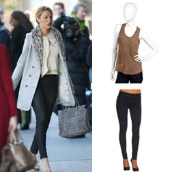 Serena - Skinny Mini Legging in Indigo by Charley 5.0 $155, Licia Suede Racerback Pocket Tank by Joie $244
