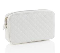 White Quilted Cosmetic Purse