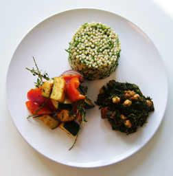 Detoxini Diet - Chick Pea and Spinach with Large Couscous and Roasted Vegetables