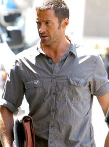 Hugh Jackman on the set of Real Steel in Detroit
