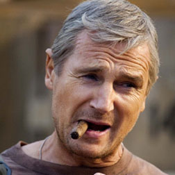 Liam Neeson as Hannibal with his famous cigar