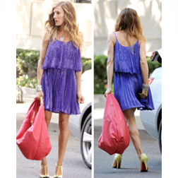 SJP in Halston Heritage Pleated Cocktail Dress