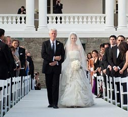 Chelsea Clinton and Bill Clinton walking down the aisle