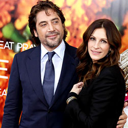 Javier Bardem and Julia Roberts at Eat, Pray, Love premiere