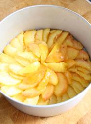 Just Peachy Cake - put peaches in a sunflower shape