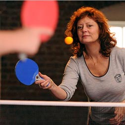 Susan Sarandon playing PingPong