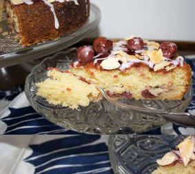 Cherry Bakewell Cake - serving