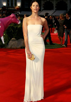 Gemma Arterton wearing a cream Gucci gown