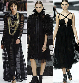 Ines de la Fressange, left, models donning the Gothic trend for next summer