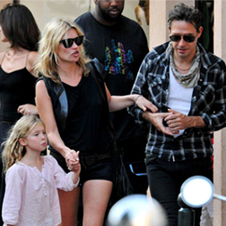 Kate Moss with Jamie Hince and her daughter, Lila Grace