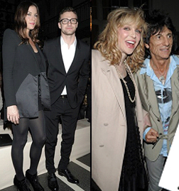 Liv Tyler, Justin Timberlake, Courtney Love and Ronny Wood at Givenchy