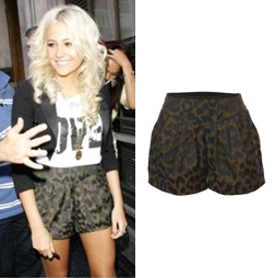 Pixie Lott and the Jaeger Jaquard Animal Print shorts