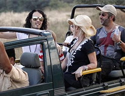Russell Brand with David Baddiel and his wife Morwenna Banks on a safari