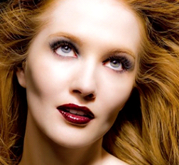 Geraldine Shaker - a model with one of her red lip looks