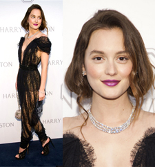 Leighton Meester at the Harry Winston Court of Jewels Exhibition