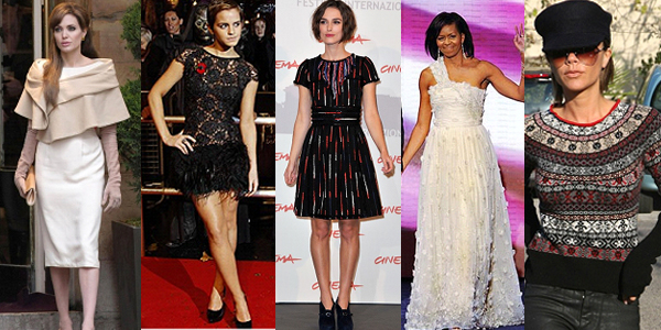 Best Dressed Celebs (l-r); Angelina Jolie, Emma Watson, Keira Knightley, Michelle Obama and Victoria Beckham