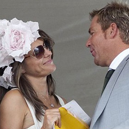 Liz Hurley and Shane Warne at Goodwood races
