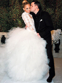 Nicole Richie (wearing Marchesa) and Joel Madden