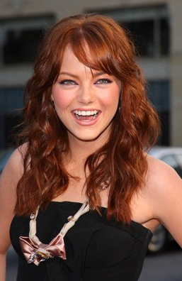 Emma Stone with her previously red hair