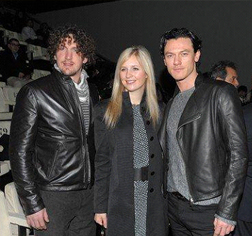 Luke Evans (far right) at the most recent Emporio Armani show