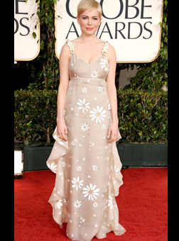 Michelle Williams in a daisy dress by Valentino