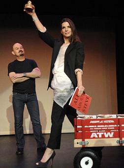 Sandra Bullock receiving her Razzie for Worst Actress in 2010