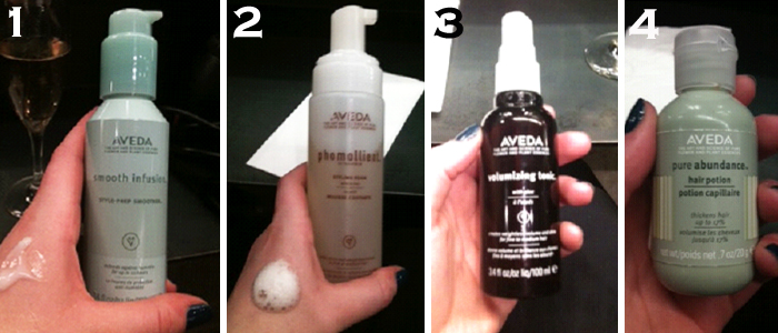 The Aveda products used on my hair in order of use post-shampoo-conditioner