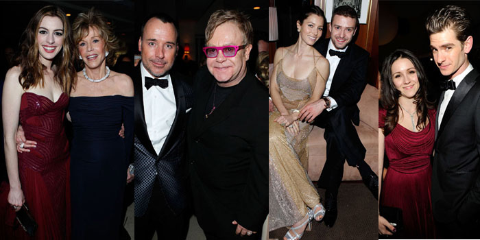Anne Hathaway and Jane Fonda, David Furnish and Elton John, Jessica Beil and Justin Timberlake and Andrew Garfield and guest