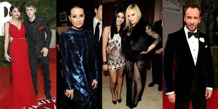 Justin Bieber and Selena Gomez, Lea Michelle, Lourdes and Madonna and Tom Ford