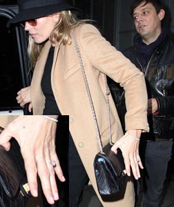 Kate Moss with Jamie Hince wearing her reported vintage engagement ring