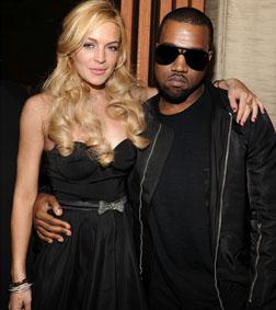 Lindsay Lohan and Kayne West at the Giuseppe Zanotti opening