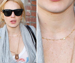 Lindsay Lohan wearing the necklace she reportedly stole