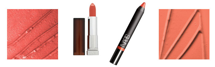 MAC See Sheer,  Maybelline Color Sensational Coral Pop, NARS Velvet Gloss Lip Pencil in Happy Days and MAC Ravishing